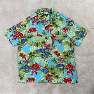 George Men's Flamingo & Beach Print Shirt Sz XXL